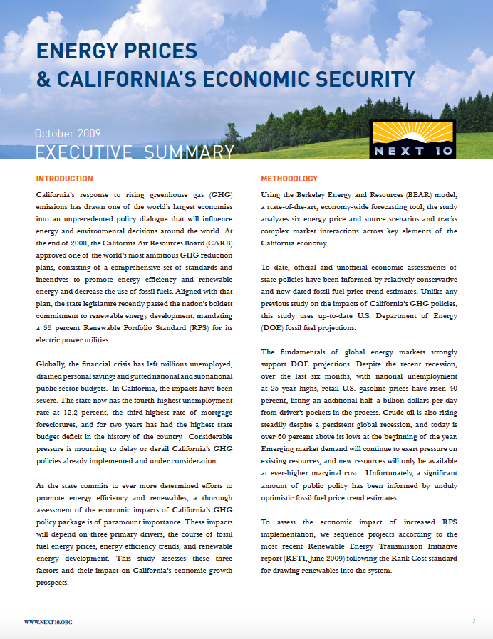 Energy Prices & California's Economic Security