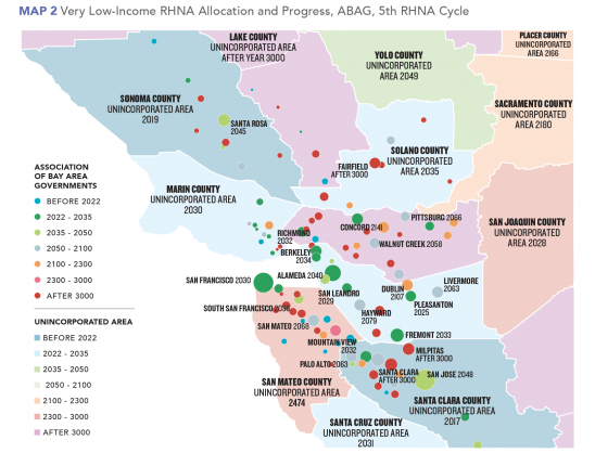 Map 2 Very Low-Income RHNA Allocation, ABAG, 5th Cycle (Featured Publication)